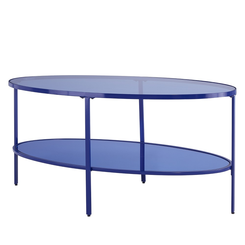 Lenae Glass Coffee Table Blue - Aiden Lane