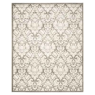 8'X10' Rectangle Outdoor Patio Rug Dark Gray/Beige - Safavieh