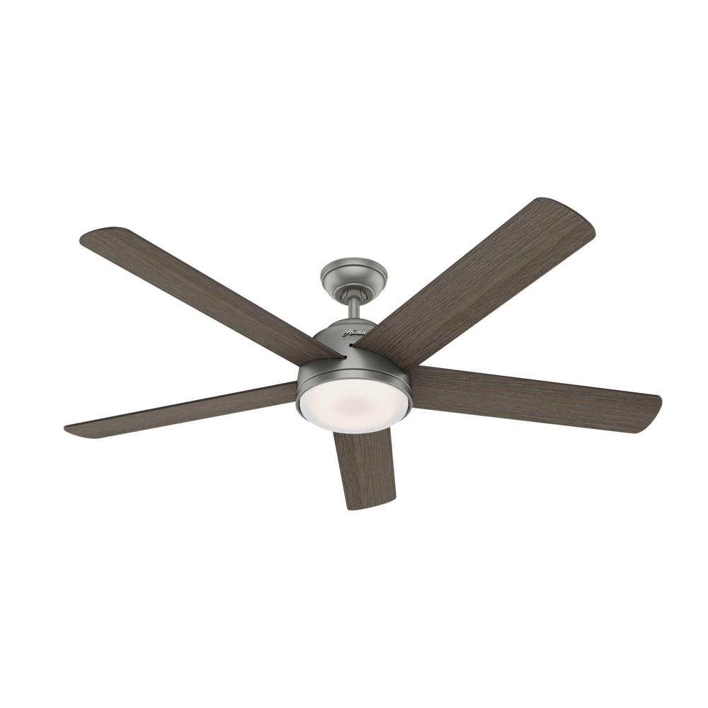 "Image of ""60"""" LED Romulus Wifi DR Ceiling Fan with Light Matte Silver - Hunter Fan"""