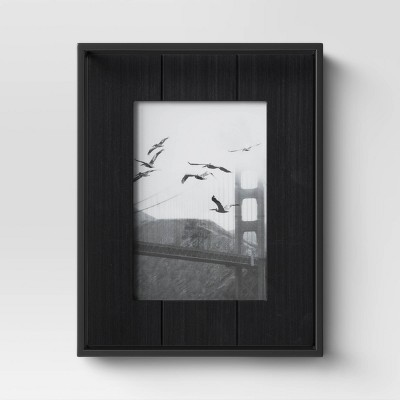 "4"" x 6"" Charred Wood with Metal Frame Black - Project 62™"