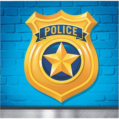 48ct Police Party Beverage Napkins Blue
