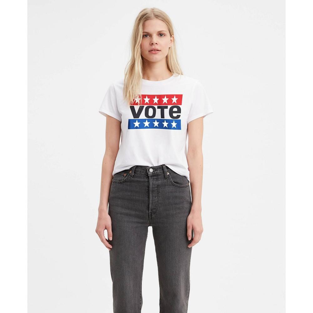 Levi 39 S 174 Women 39 S Graphic Short Sleeve Surf Vote Cropped T Shirt White Stars Logo Xl