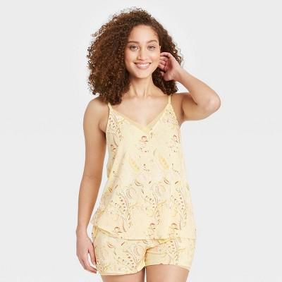 Women's Paisley Print Beautifully Soft Cami and Shorts Pajama Set - Stars Above™ Yellow