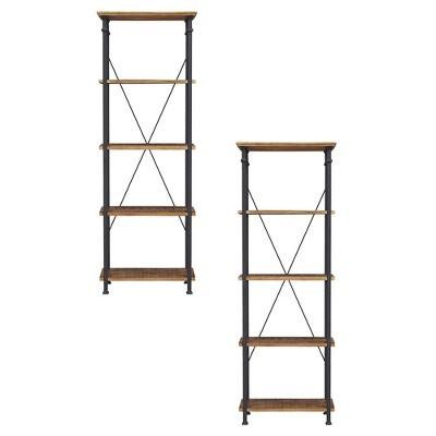 Homelegance Factory Collection Rustic Modern Wood Metal Living Room 4 Tier Storage Organizer Bookcase Shelf Rack, Black (2 Pack)