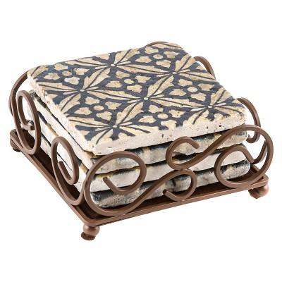 Thirstystone Travertine Coaster Set in Scroll Holder - Black