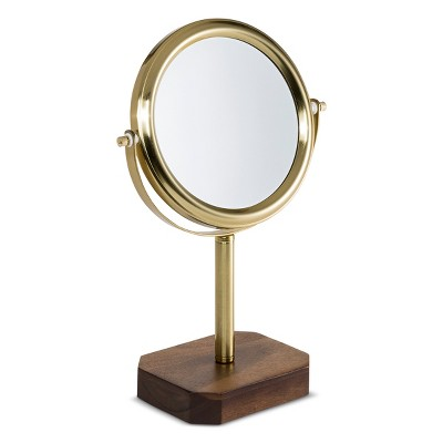 Acacia and Soft Brass Vanity Makeup Mirror Wood - 88 Main