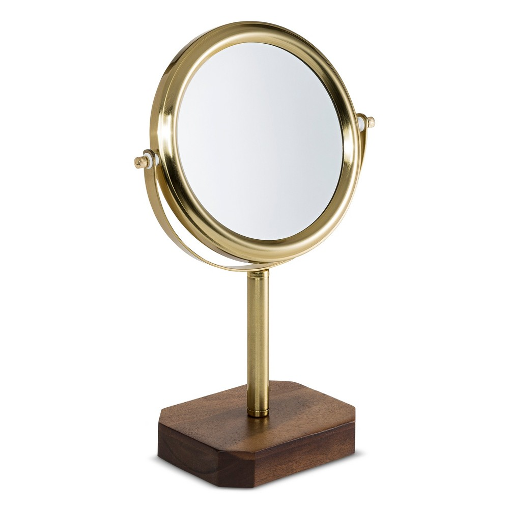 Image of Acacia and Soft Brass Vanity Makeup Mirror Wood - 88 Main, Gold Brown