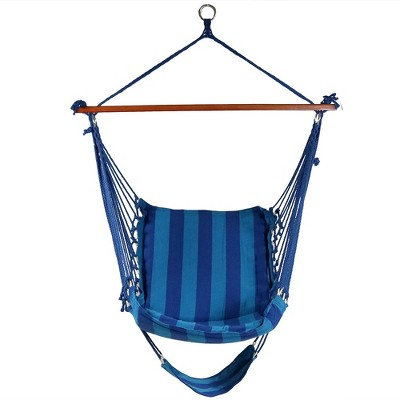 Hanging Padded Cushioned Hammock Chair With Footrest   Beach Oasis    Sunnydaze Decor