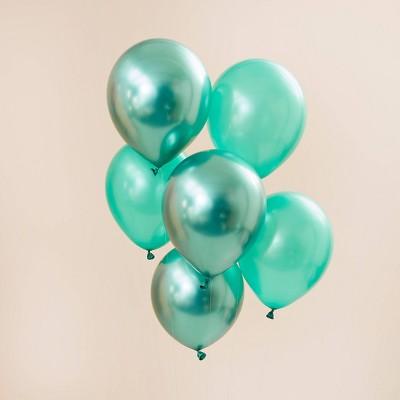 20ct Metallic Balloon Pack Mint Green/Green