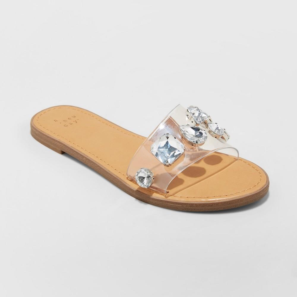Women's Alana Gem Slide Sandals - A New Day Tan 8