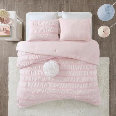 3pc Full/Queen Ashlyn Ruched Comforter Set Pink