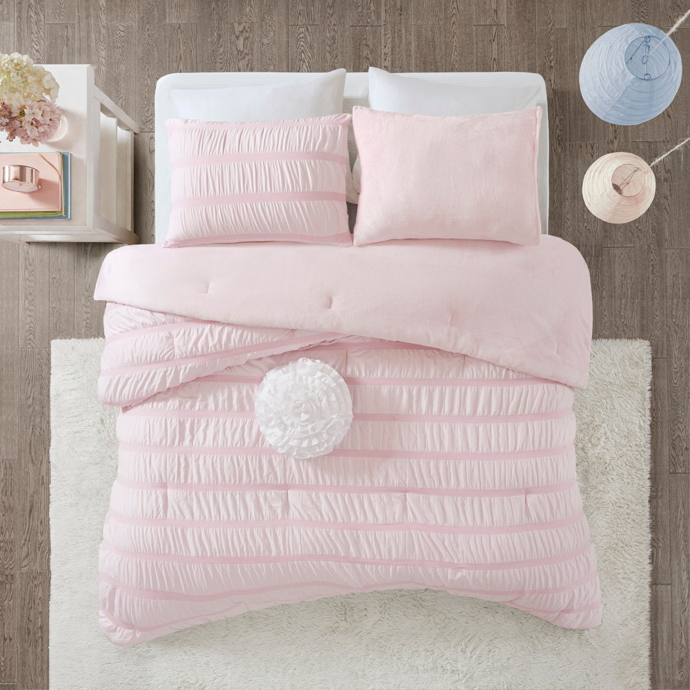 3pc Full/Queen Ashlyn Ruched Comforter Set Pink