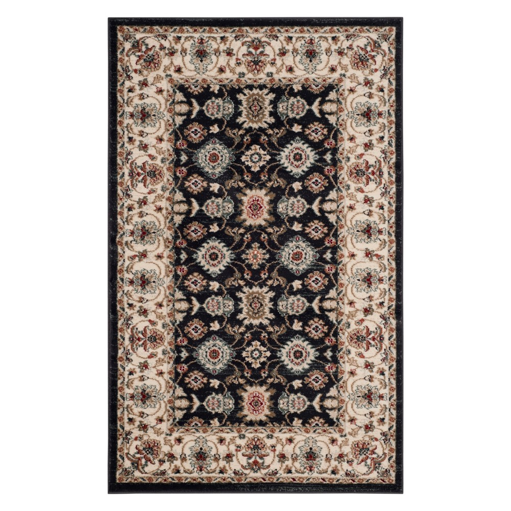 33X53 Floral Loomed Accent Rug Navy/Cream - Safavieh Best