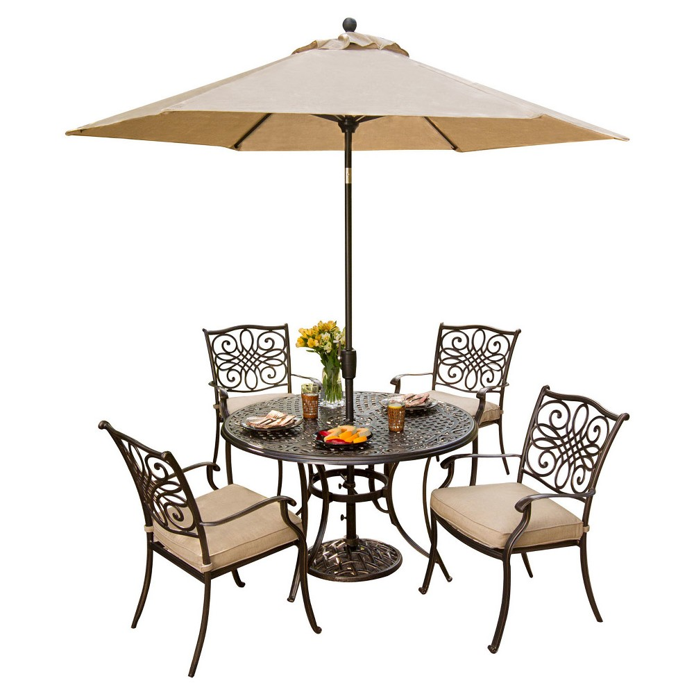 Hanover Outdoor Furniture Traditions 5 Pc. Dining Set of 4 Aluminum Cast Dining Chairs, 48 in. Round Table, and a Table Umbrella, Bronze Brown