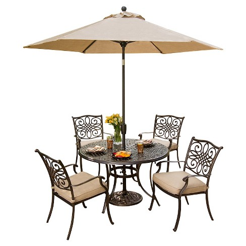 Hanover Outdoor Furniture Traditions 5 Pc Dining Set Of 4 Aluminum Cast Chairs 48 In Round Table And A Umbrella Target