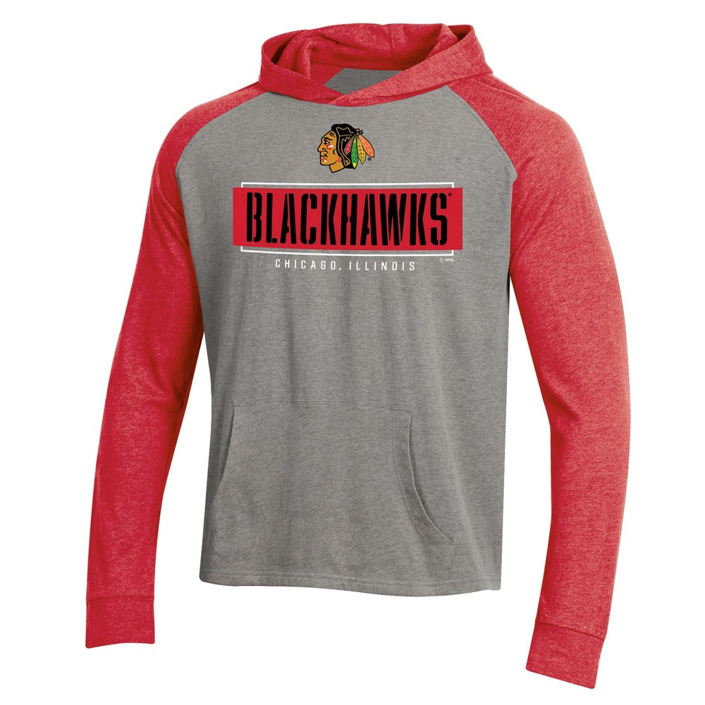 Chicago Blackhawks Men's Faceoff Gray/Lightweight Hoodie - XL, Multicolored