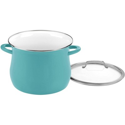 Cuisinart Contour Collection Enamel on Stainless Steel Dishwasher Safe 12 Quart Stockpot Cookware with Cover for Use on Stove Top or Oven, Teal