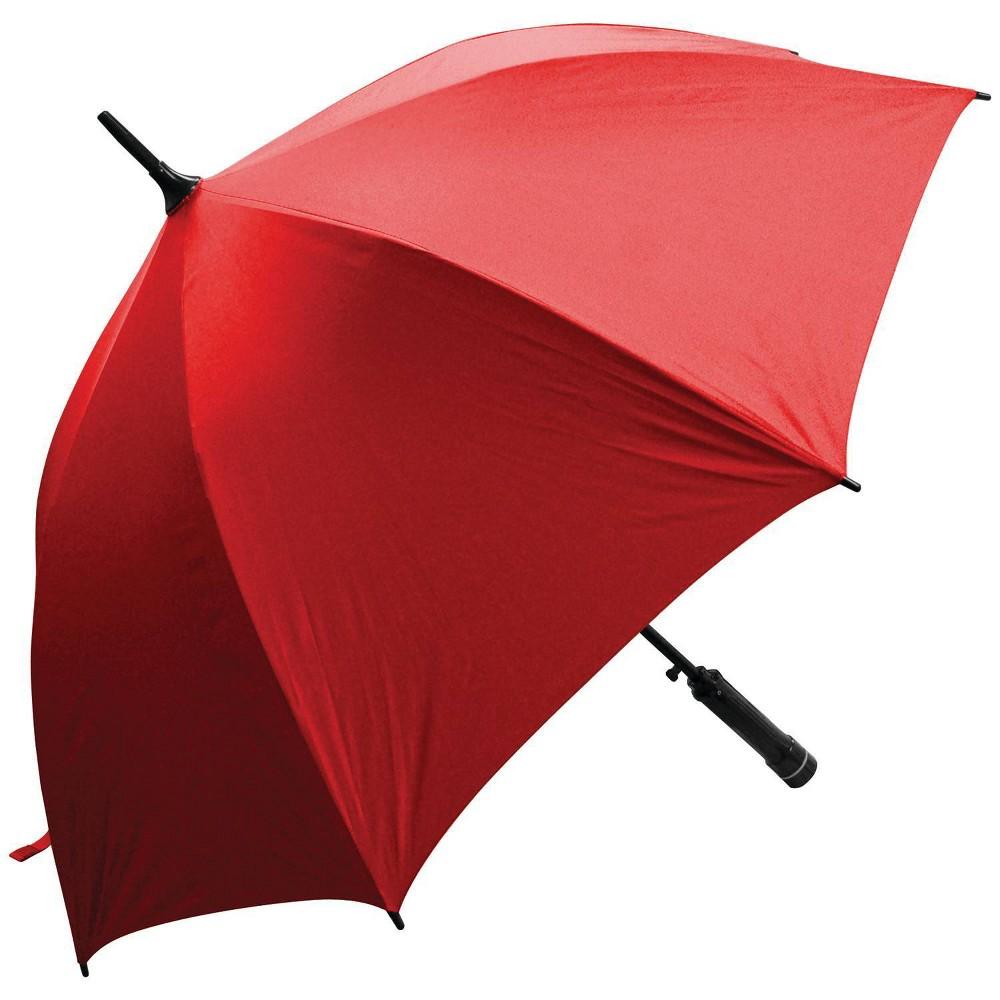 Image of Creative Outdoor Distributor Bree-Z Brella Stick Umbrella with Built-in Fan - Red