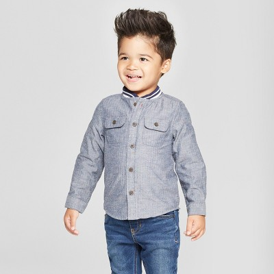 Toddler Boys' Long Sleeve Rib Knit Collar Button-Down Shirt - Cat & Jack™ Gray 12M