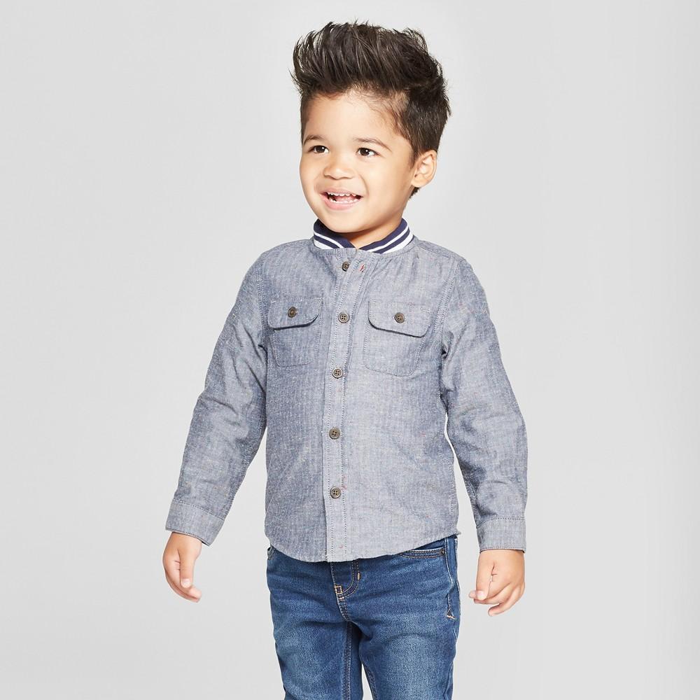 Toddler Boys' Long Sleeve Rib Knit Collar Button-Down Shirt - Cat & Jack Gray 2T