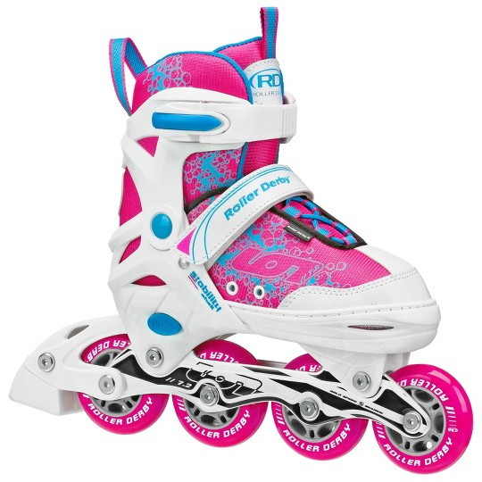Roller Derby ION 7.2 Girls' Adjustable Inline Skate - White/Pink - Medium (2-5), Girl's, White Pink image number null