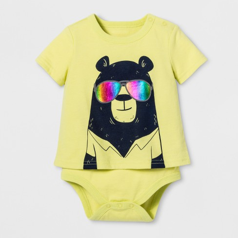 Pride Bear With Sunglasses Child Bodysuit - Fairest Gold - image 1 of 1
