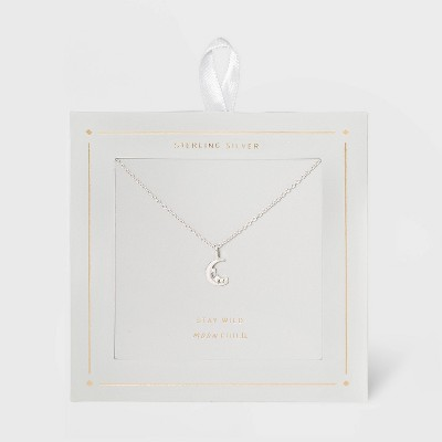 Sterling Silver Cubic Zirconia Moon and Stars Pendant Necklace - Silver Gray