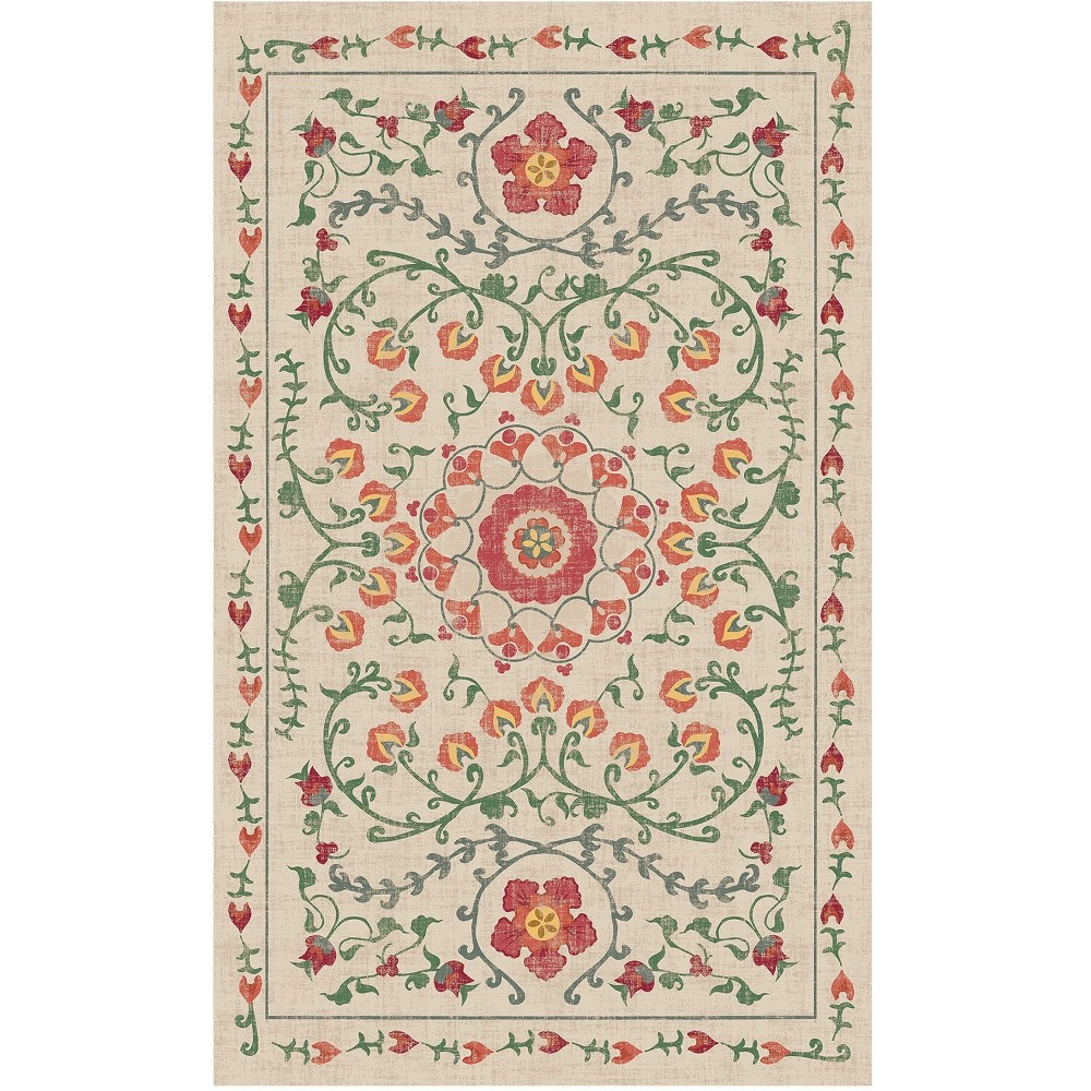 Coral Floral Woven Accent Rug 3'X5' - Ruggable, Pink