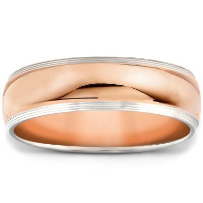 Pompeii3 Mens 14k White & Rose Gold Ring Two Tone Polished Wedding Band 6MM