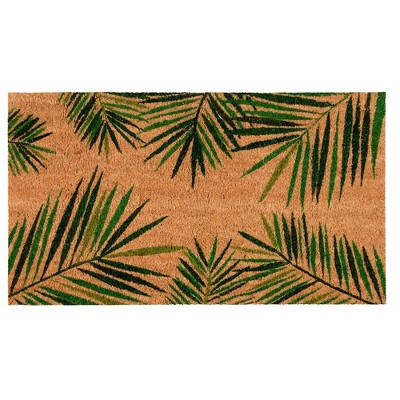 Juvale Tropical Green Palm Coir Door Mat Welcome Doormat Indoor Outdoor Nonslip Front Rugs 30 x 17