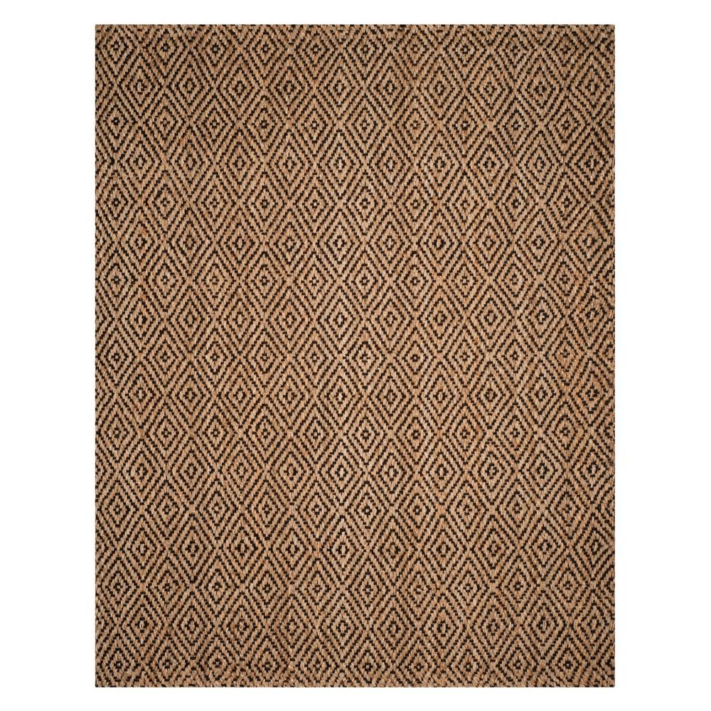 Geometric Woven Area Rug Natural/Black