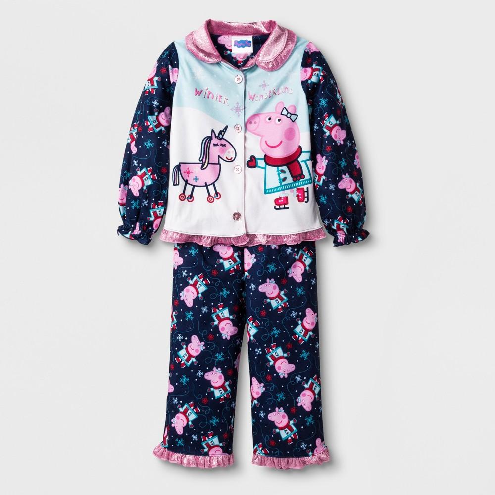 Toddler Girls' Peppa Pig Pajama Set - Navy 5T, Blue
