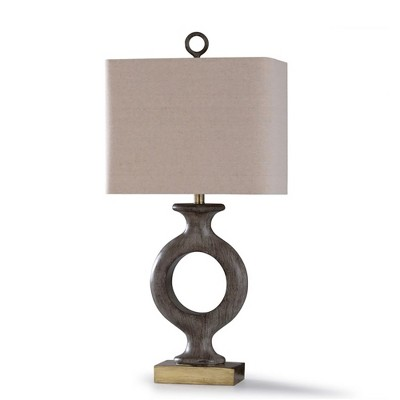 StyleCraft L318531 Shildon Traditional Lamp with Beige Lampshade, Resin Carved Body, and Steel Base for Table or Desk Bedroom Room Light Decor, Gold