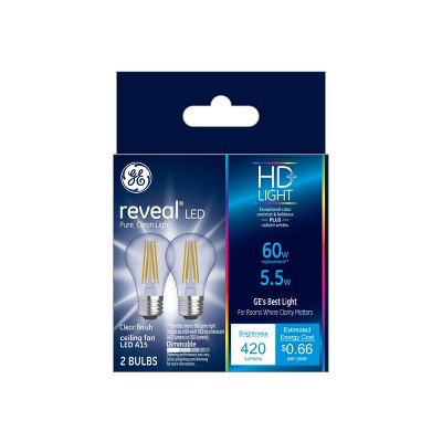 60W Reveal 2pk A15 CF Clear LED Light Bulb White - General Electric