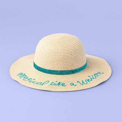"Girls' ""Magical Like A Unicorn"" Straw Hat - More Than Magic™ Cream One Size"