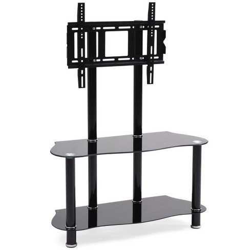 """35.4"""""""" Wide Glass TV Stand with Mount in Black - Hodedah - image 1 of 2"""