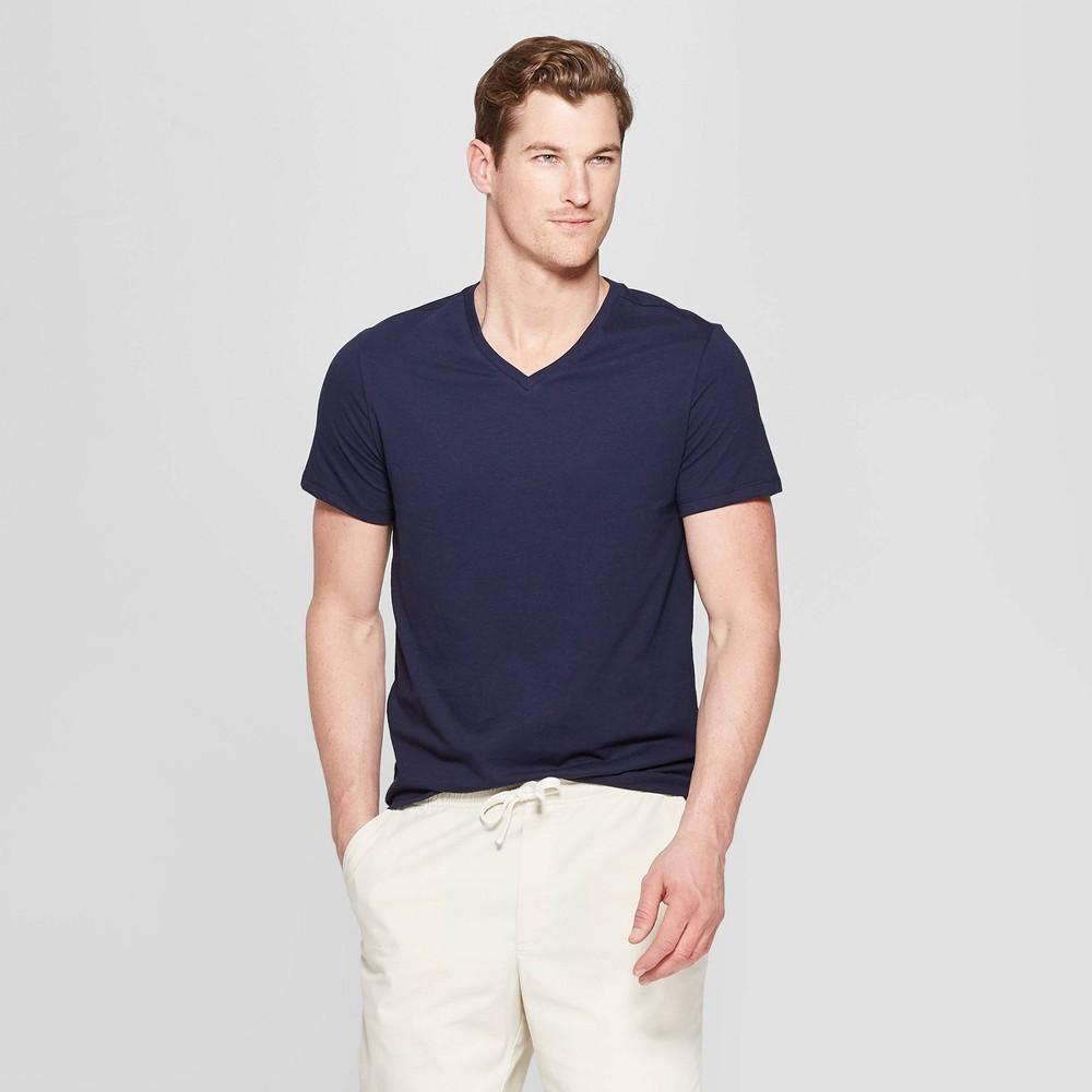 Mens Standard Fit Short Sleeve Lyndale V-Neck T-Shirt - Goodfellow & Co Xavier Navy 2XL Best