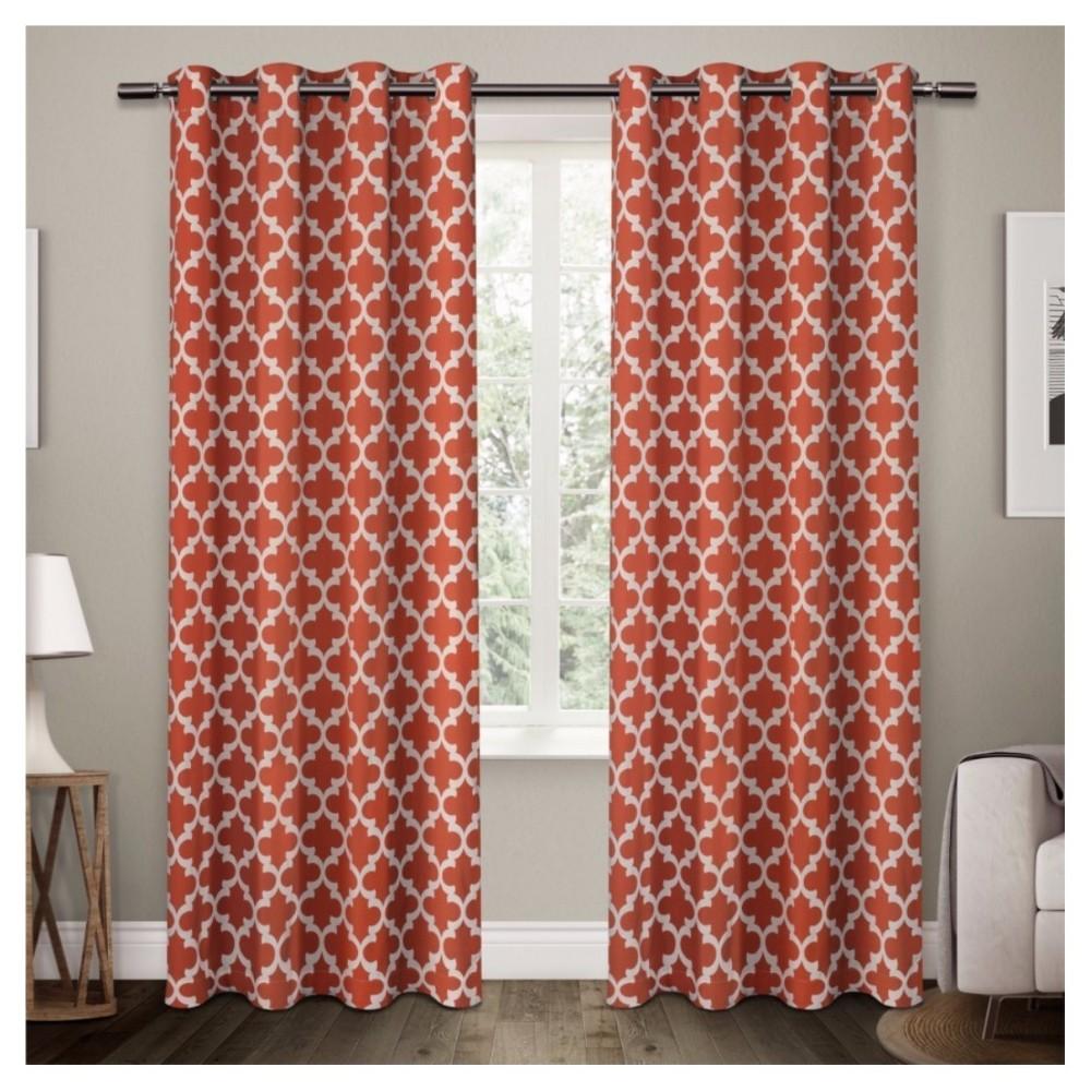 Neptune Cotton Window Curtain Panel Pair Mecca Orange (54