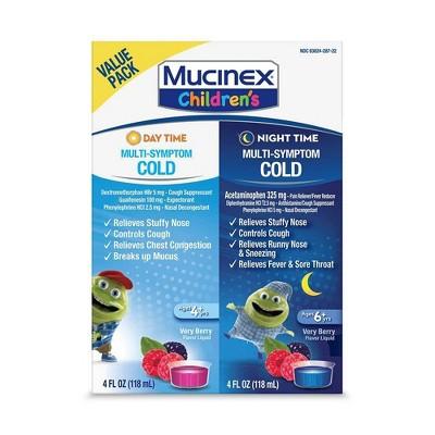 Children's Mucinex Multi-Symptom Day & Night Cold Relief Liquid - Dextromethorphan - Mixed Berry - 4 fl oz/2pk