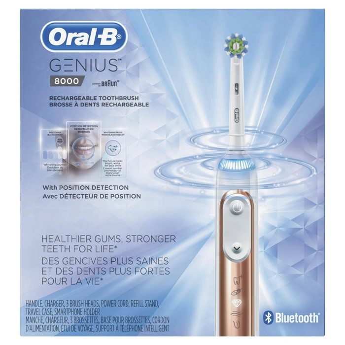 Oral-B Genius 8000 Rose Gold Electric Rechargeable Toothbrush with 3 Brush Heads Bluetooth Connectivity and Travel Case Powered by Braun - image 1 of 5