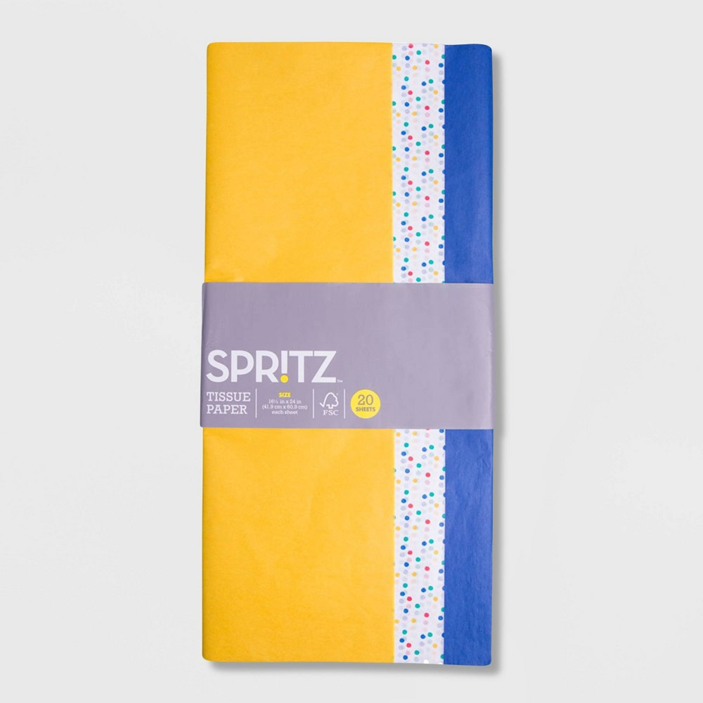 Image of 20ct Dotted Banded Tissue Paper - Spritz