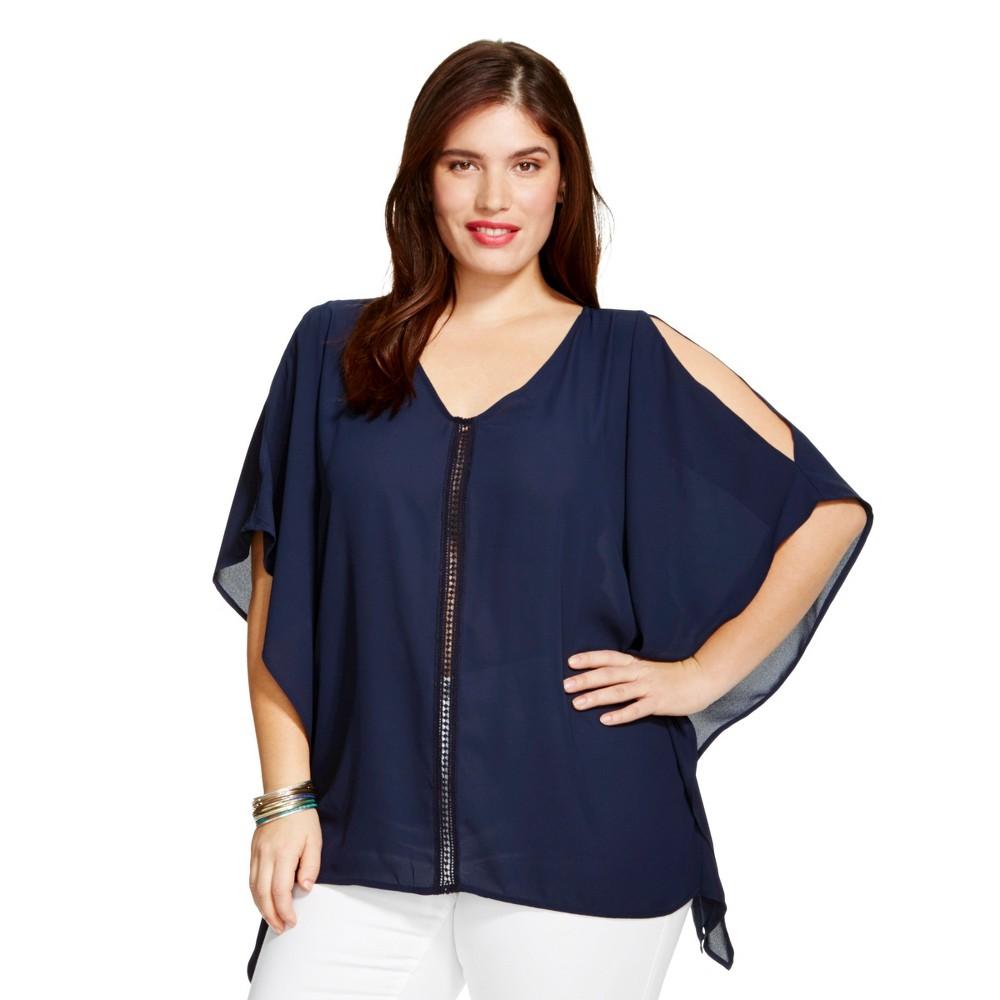 Women's Plus Size Cold Shoulder Top Navy (Blue) - Ava & Viv - 2X/3X, Size: 2X-3X