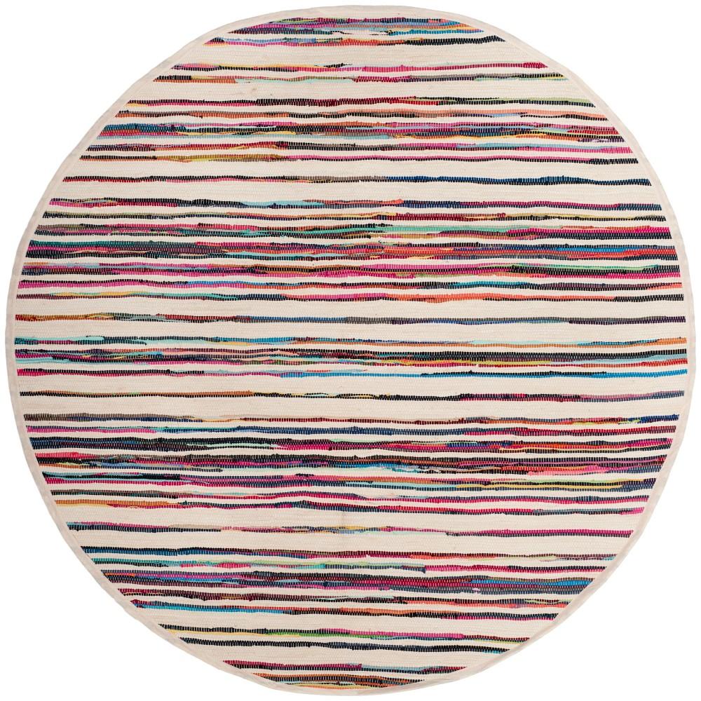 6 39 Round Stripe Woven Area Rug Ivory Pink Safavieh