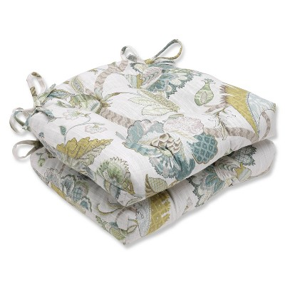 """Blue Finders Keepers Peacock Reversible Chair Pad (Set Of 2) (16""""X15.5"""") - Pillow Perfect"""