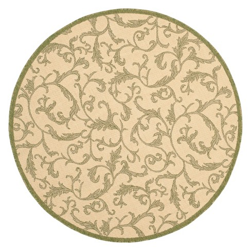 Jassy Round 6 7 Quot Patio Rug Natural Olive Safavieh