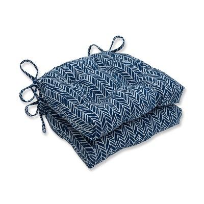 Set of 2 Indoor/Outdoor Herringbone Reversible Chair Pad Blue - Pillow Perfect