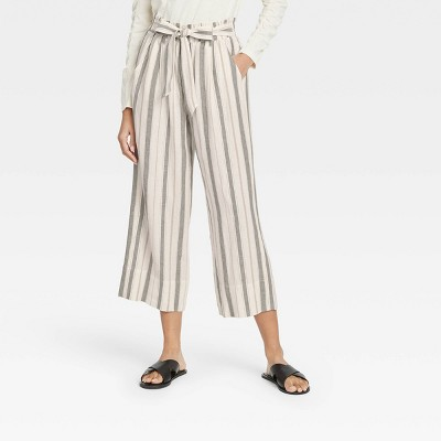 Women's Striped Mid-Rise Linen Cropped Wide Leg Pants - Knox Rose™ Olive Green
