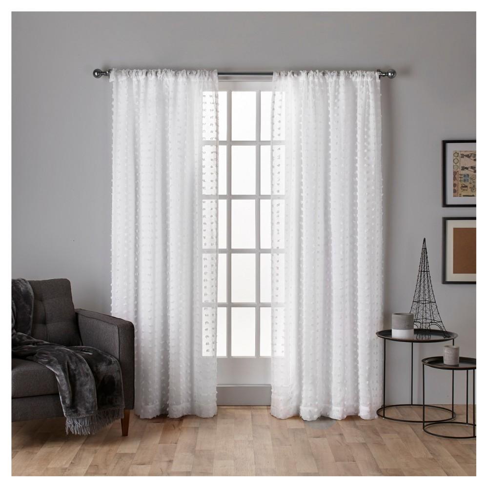 Spirit Woven Pouf Applique Sheer Rod Pocket Window Curtain Panel Pair White (54