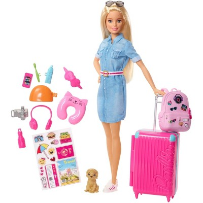 Barbie Travel Doll & Puppy Playset