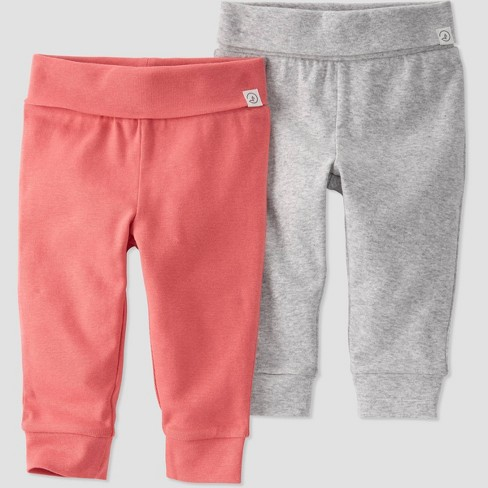 Baby Girls' 2pk Organic Cotton Pull-On Pants - little planet by carter's Pink - image 1 of 2